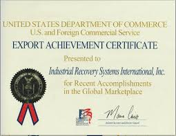 US Department of Commerce – US and Foreign Commercial Service – Export Achievement Certificate